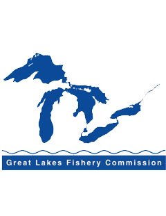 Image of a Great Lakes Fishery Commission technical report.  Image of great lakes silhouette with Great Lakes Fishery Commission text below